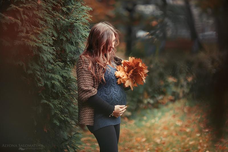Беременная фотосессия на улице осенью 95